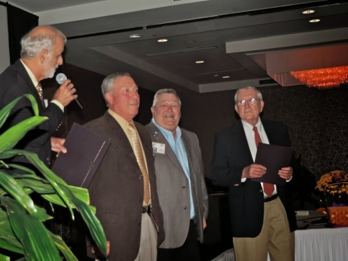 Ralph D'Alessandro honoring CCHS '64 sports legends: Bob Lawson, Dave Forsberg, Coach Ed McGrath